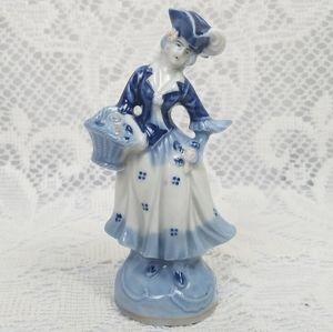 Occupied Japan Victorian Girl Blue Glaze figurine